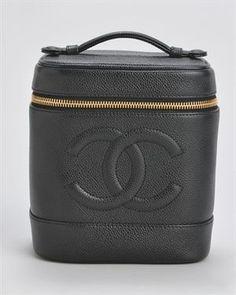 Chanel Leather Vanity Pochette Makeup Bag