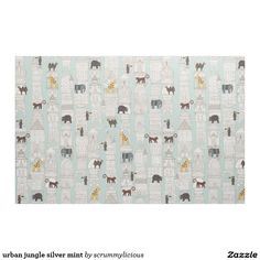 urban jungle silver mint fabric #zazzle #fabric #scrummy #sharonturner #animals #architecture #kids #nursery