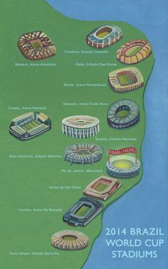 Illustrated Map Of Brazil World Cup 2014 I've been to Maracana! Soccer Stadium, Football Stadiums, Football Soccer, Fifa 2014 World Cup, Brazil World Cup, World Football, Soccer World, Brazil Tourism, Time Do Brasil