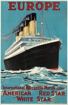 Fred J. Hoertz poster: Europe - International Mercantile Marine Lines