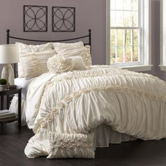 Lush Decor Darla 4-Piece Comforter Set, King, Ivory Lush Décor http://www.amazon.com/dp/B00GXGXROG/ref=cm_sw_r_pi_dp_i5yZub018TF2X
