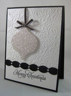I LOVE this card, but I really LOVE our glitter paper. Champagne, silver and cherry cobbler. Gorgeous, wouldn't you say? Supplies: Sta...
