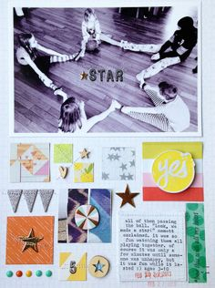 Could cut up pocket cards to use at the bottom! #scrapbook #layout  star by ginny at @Studio_Calico