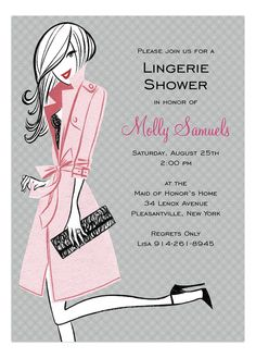 Bonnie Marcus | Pretty Pink Party Invitation | Polka Dot Design  #Lingerie #Bridal