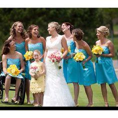 Yellow roses Malibu blue dresses.... Exactly the colors I want!!!!!!!