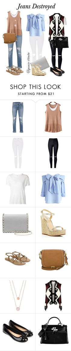 """""""jeans destroyed"""" by fabiana-canegal ❤ liked on Polyvore featuring rag & bone, Topshop, WithChic, R13, Chicwish, Valentino, Badgley Mischka, Accessorize, Brahmin and Michael Kors"""