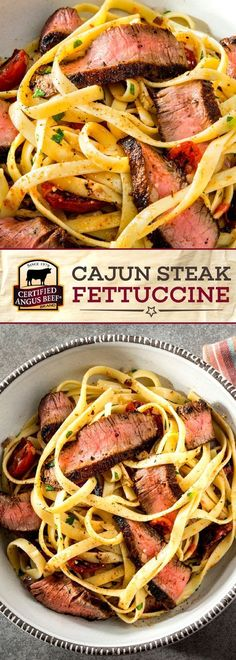 Certified Angus Beef& brand Cajun Steak Fettuccine is SIMPLE to make and so TASTY! The best ball tip steaks with the perfect spice rub, served over thick fettuccine with parmesan and parsley, make this a deliciously BOLD meal. Boeuf Angus, Angus Beef, Best Beef Recipes, Cooking Recipes, Favorite Recipes, Simple Steak Recipes, Healthy Steak Recipes, Game Recipes, Recipies