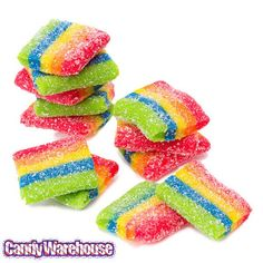 AirHeads Xtremes Sour Belts Bites Candy Packs - Rainbow Berry: 12-Piece Box | CandyWarehouse.com Airhead Extremes, Sour Belts, Sour Foods, Rainbow Candy, Sour Candy, Food Facts, My New Room, Berries, Sweet Treats