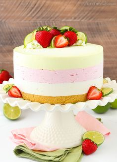 This Key Lime Strawberry Coconut Ice Cream Cake combines three delicious flavors into one ice cream cake that's completely no bake, no churn and a fun display of colors and fresh fruit that are perfect for summer! So I'm still suffering some consequences from our July 4th celebration. We went out on the lake and …