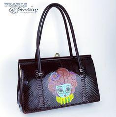 """Clarabelle"" Kitsch Vintage Handbag & Purse Sculpture Art, Sculptures, Jewelry Art, Jewelry Accessories, Quirky Fashion, Vintage Handbags, Doll Face, Kitsch, Hand Painted"