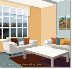living room color scheme in grey & apricot Feng Shui Interior Design, Interior Design Color Schemes, Colorful Interior Design, Interior Decorating, Living Room Color Schemes, Orange Walls, Bedroom Paint Colors, Living Room Remodel, Sample Resume