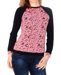T-Shirts & Sweatshirts - Longsleeve schwarz lachsrosa Pullover SALE - ein Designerstück von lucylique bei DaWanda