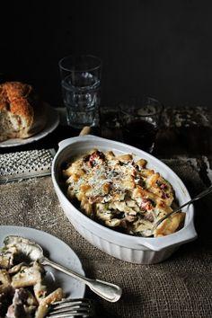 Pratos e Travessas: Macarronete cremoso com frango, cogumelos e chouriço # Small rigatoni with chicken, mushrooms and chouriço | Food, photography and stories