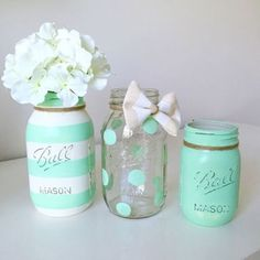 New Baby Boy Shower Centerpieces Mason Jars Burlap Ideas Mason Jar Projects, Mason Jar Crafts, Diy Projects, Mint Paint, Pot Mason Diy, Decorated Jars, Painted Mason Jars, Mason Jar Painting, Baby Shower Decorations