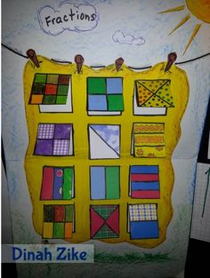fraction quilts - can have fraction questions on inside: What fraction is blue? Fraction Activities, Math Activities, Math Games, Math Art, Fun Math, Fraction Art, Maths 3e, Math Fractions, Dividing Fractions