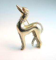 Art Deco Greyhound Pin Pavé Rhinestones Gold by bohemiantrading, $38.00