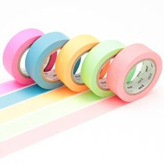 Get creative in your craft projects with this decorative adhesive washi tape set from Japanese company mt masking tape. The box contains 5 washi tape rolls, each in a different neon shade. A versatile tape that easily tears, sticks instantly and peels off Mt Tape, Mt Masking Tape, Washi Tape Set, Tapas, Studyblr, Craft Organization, Craft Storage, Colored Tape, Paperchase