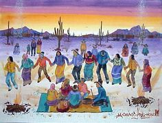 Tohono O'odham Artists. Tohono O'odham Friendship or Round Dance. No additional information re: this image.