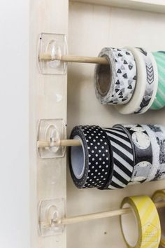 10 minutes of DIYs: Washi Tape Organizer 2019 10 minutes of DIYs: Washi Tape Organizer Organize your craft room with this simple handyman that takes less than 5 minutes! The post 10 Minuten DIYs: Washi Tape Organizer 2019 appeared first on Paper ideas. Craft Room Storage, Craft Organization, Diy Organizer, Craft Ribbon Storage, Storage Ideas, Pegboard Craft Room, Wrapping Paper Storage, Ribbon Organization, Sewing Room Storage