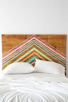 Colorfully painted headboard.