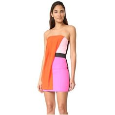 Barbara Bui Strapless Multicolor Dress ($1,375) ❤ liked on Polyvore featuring dresses, multicolor, red dress, red strapless cocktail dress, multi-color dresses, color block cocktail dress and strapless cocktail dresses