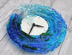 Fused Glass Clock Crashing Wave Design