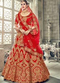 Shop Color Red Art Silk Fabric Lehenga Choli Online