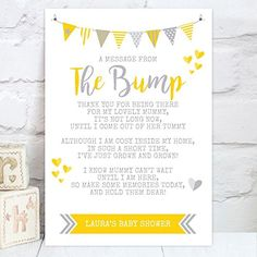 """Personalised Baby Shower """"A Message From The Bump"""" Poem Table Sign (BS1): Amazon.co.uk: Handmade"""