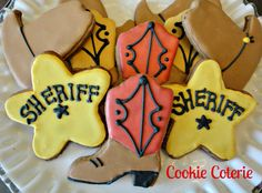 Western Decorated Sugar Cookies Cowboy Boots Sheriff's Badge Cowboy Hat Cowgirl Birthday Party Favors. $18.00, via Etsy.