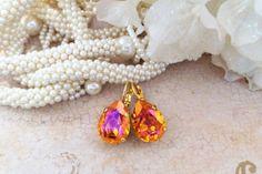 Astral Pink Pears, Swarovski Lever Back Earrings, Crystal drops, Dangles, Bridal, Formal,DKSJewelrydesigns