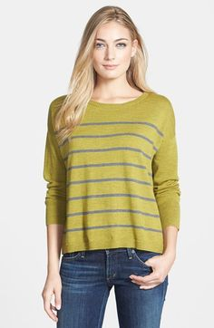 Eileen Fisher Ballet Neck Merino Boxy Top- Slim stripes enhance the casual…