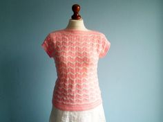 Vintage crocheted top blouse / pink white / by moonandsoda on Etsy, $29.00