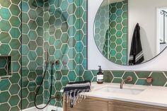 Floor to ceiling tile bathroom. Green - copper hexagon tile in a mid-century bathroom. Hexagon Tile Bathroom, White Bathroom Tiles, Tile Bathrooms, Bathroom Green, Condo Design, Tile Design, Mid Century Bathroom, Outdoor Bathrooms, Bathroom Interior Design