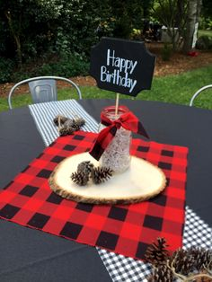 Let's get this party started! #lumberjack #threeyearoldparty #birthday #plaid #logs #party #threeyearsold #boybirthday #partyideas #northcarolina #eventplanner #bluewillowevents #centerpieces #happybirthday