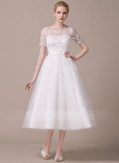 A-Line/Princess Scoop Neck Tea-Length Satin Tulle Wedding Dress With Appliques Lace Bow(s) (002059206) - JJsHouse
