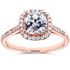 Annello by Kobelli 14k Rose Gold Cushion Forever Brilliant Moissanite and 1/4ct TDW Diamond Halo Eng