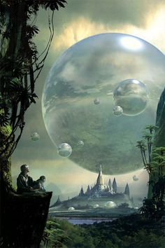 """I'd call this #scifi piece 'The Orbs of Fantasia' though it's called """"Fantasy worlds"""" by Stephan Martiniere"""