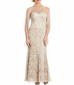 Adrianna Papell Sequined Lace Bodice Gown #Dillards - Like: Bottom ...