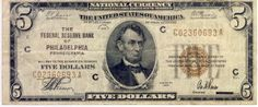 USA National Currency Philadelphia Five dollars series of 1929 as per scan