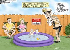 WOTUS rule is infringing on private property rights. Cartoon by A.F.Branco ©2015