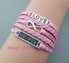infinity bracelet,believe bracelet,love bracelet,pink leather pink rope.choose your color.lover,Couple bracelet,birthday,Friendship gift, by APerfectGifts on Etsy, $4.99