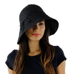Save $12.01 on Fancy Sun Hat, Woven Straw with Brim in Ivory or Black; only $7.99