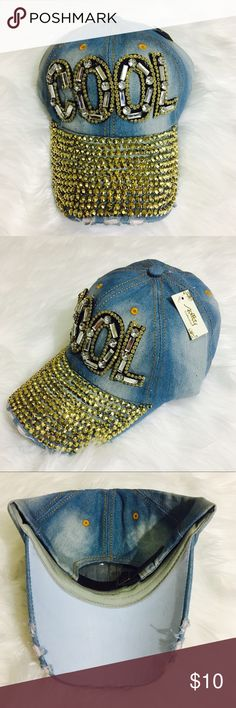 Bejeweled denim washed hat 100%Cotton adjustable strap imported Accessories Hats