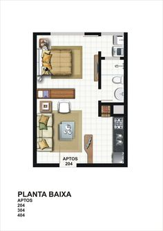 Ed Cristiano 115 & Imóveis The post Ed Cristiano 115 Hotel Room Design, Small Room Design, Tiny House Design, Studio Floor Plans, Small House Floor Plans, Garage To Living Space, Sims House Plans, Small Studio Apartments, Model House Plan