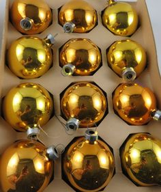 Holly 2 1/4 Gold Glass Christmas Ornaments  by CheekyBirdy on Etsy