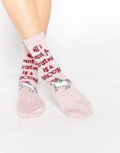Bild 1 von ASOS – All I Want For Christmas Is A Unicorn – Weihnachtssocken mit Detail in Metallic