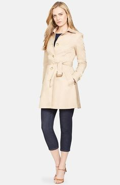 Lauren Ralph Lauren Single Breasted Skirted Trench Coat available at #Nordstrom