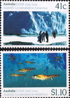 Australia 1990 Antartic Cooperation Joint with USSR Set Fine Mint  SG 1261 2 Scott 1182 3  Other Australian Stamps HERE