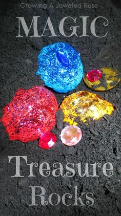 Fizzing MAGIC rocks with treasures hidden inside.  Easy to make and sure to delight and WOW any child. Squirt with vinegar to make them fizz!