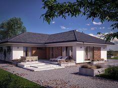 Zdjęcie projektu Ambrozja 10 BSA2132 Modern Family House, House Plans Mansion, Single Story Homes, Future House, Garage Doors, New Homes, Exterior, Villa, Patio